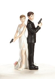 """Super Sexy Spy"" Wedding Bride and Groom Cake Topper Figurine"