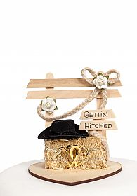 """Gettin Hitched"" Western Wedding Cake Topper"