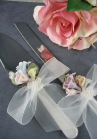 Pastel Porcelain Rose Wedding Cake Server Set