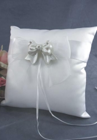 Rhinestone Pearlized Bow Wedding Ring Bearer Pillow
